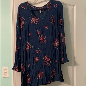 Blue dress with pink flowers